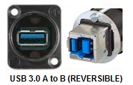 NAUSB3B - USB 3.0 A to B or B to A Bulkhead XLR D-Series Mount