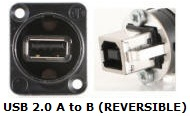 NAUSBB - USB A to B or B to A Bulkhead XLR D-Series Mount
