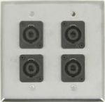 4 Port Double Gang Speakon Solderless Face Plate